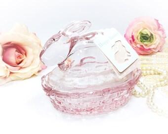 Pink Bunny Glass Jar, Pink Glass Rabbit Jar, Pink Bunny Trinket Jar, Pink Glass Easter Jar, Pink Glass Jar #A831