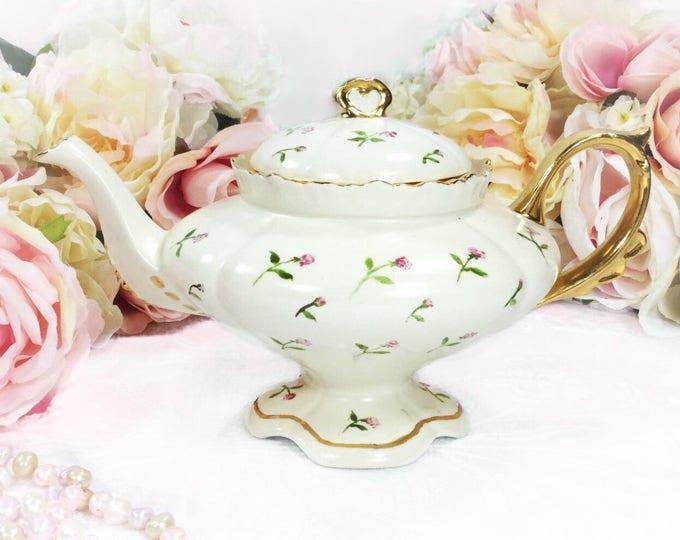 Unique Loma Circa 1951 Garden Rose Floral Gilt Vintage Teapot For Tea Set, Party, Wedding, Bridal or Baby Shower, Gift, Tea Time #299