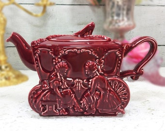 Vintage Ellgreave Maroon Cinderella Step Sisters Carriage Slipper Teapot For Tea Time Tea Party, Baby Shower, Wedding, Bridal Shower #709