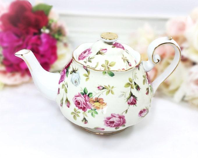 Full Sized Floral Porcelain Teapot for Tea Set, Tea Party, Wedding. Victorian Trading Co. Porcelain China #A656