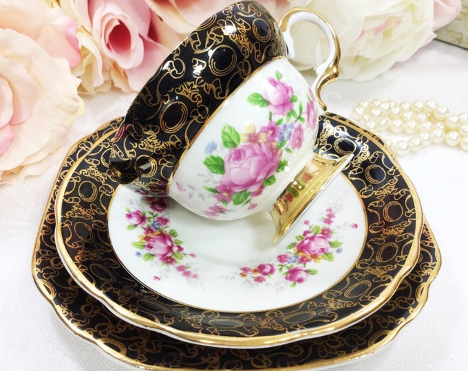 22 kt Gold Black Floral Imperial English Fine Bone China English Tea Cup, Saucer, Plate For Tea Time, Bridal, Tea Party #A93
