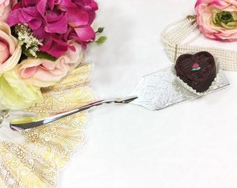 "Ornate Silver Plated 11.5"" Pie Server, Cake Server, Pastry Server, Dessert Pierced Server Wedding Gift, Anniversary, Party #A632"