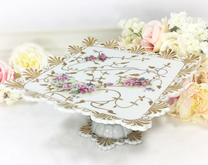 Handpainted French Gilt Floral Pedestal Cake Stand, Floral Cake Plate, Cake Stand For Tea Party, Tea Time, Wedding, Baby Shower, Gift #A276
