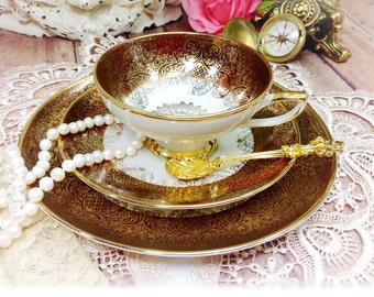 Vintage Winterling Roslau Bavaria Gold Lace Filigree Over Chocolate Tea Trio Teacup Saucer Dessert Plate for Wedding Baby Bridal Shower #191