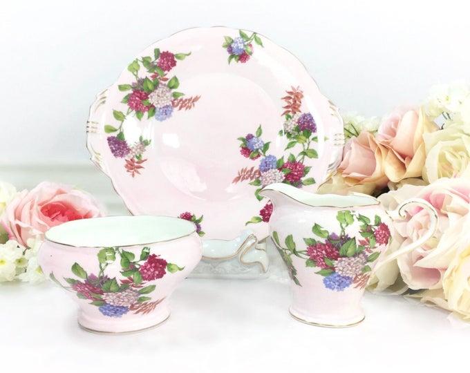 Pink Aynsley Floral Bone China English Open Sugar Bowl, Creamer, & Cake Plate for Tea Set Tea Party, Wedding. English Bone China #A263