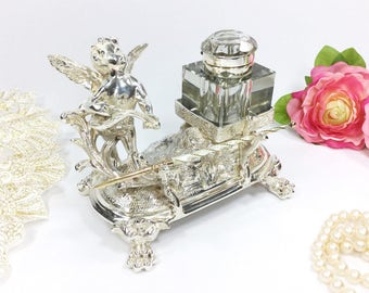 Silver Plated Victorian Cherub Inkwell and Pen Stand, Silver Cherub Inkwell for Dip Pen, Silver Plated Inkwell Desk Set #A794
