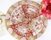 Hand Painted Oriental Display Plate, Handpainted Plate, Wedding Gift, Bridal Shower A06