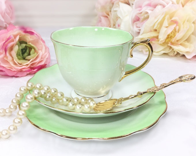 Royal Albert 21 Piece Green Rainbow Complete English Tea Set Trio Cup, Saucer, Plate For Tea Party Wedding Shower Tea Time #773