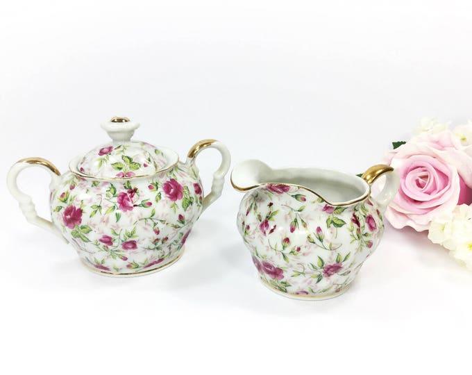 Lefton Rose Sugar & Creamer, Lefton Handpainted Covered Sugar Bowl and Creamer for Tea Set Tea Party #A907