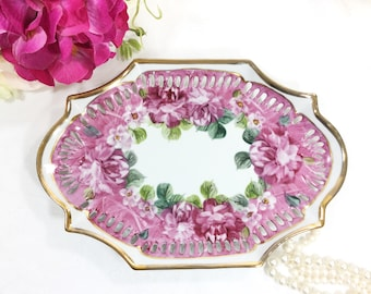 Antique French Handpainted Floral Ceramic Vanity Tray, Serving Platter, Floral Serving Tray Party, Vanity Tray, Boudoir #A305