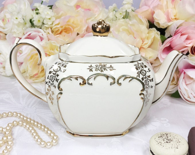 Exquisite Cubed Sadler English Floral Gilt Teapot, English Teapot, Perfect for Tea Party, Wedding, Shower, Tea Time #917