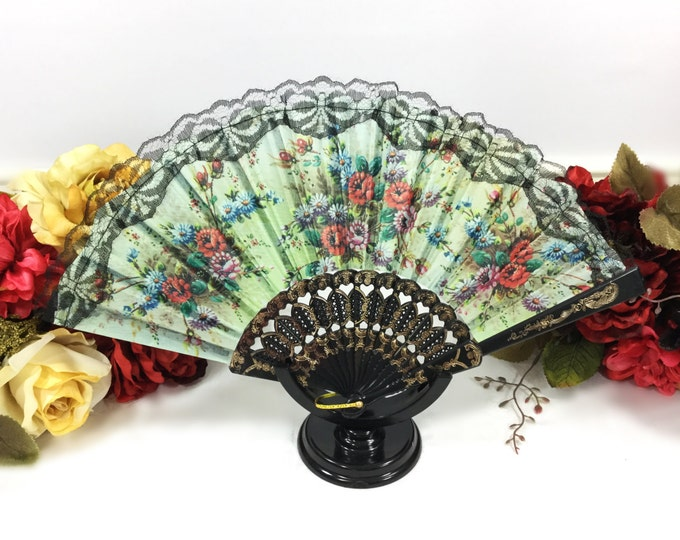 Green Floral Black Spanish Lace Floral Folding Fan For Weddings, Dress up, Bridal Showers, Gift, Tea Party, Tea Time, Church # A368