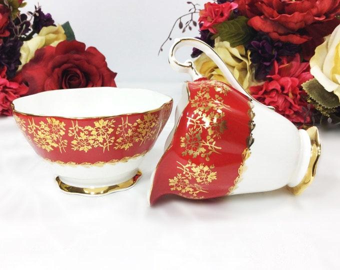 Royal Standard English Bone China Open Sugar Bowl & Creamer for Tea Set Tea Party, Wedding. Gold Floral English Bone China #A124
