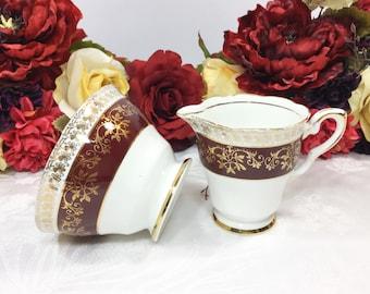 English Royal Stafford Creamer And Sugar Bowl, Burgundy & Gold Filigree Fine Bone China for Tea Set, Tea Party, Wedding, England #A175
