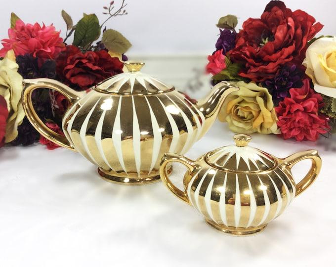Gold 2 Piece Sadler English Teapot & Covered Sugar Bowl For Tea Time Tea Party, Wedding, English Teapot #A243