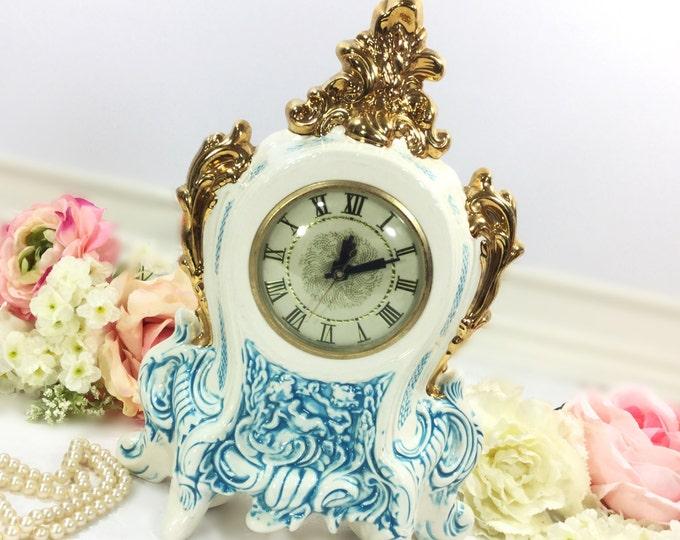 Vintage Lanshire Movement Porcelain Mantle Clock, Gold and Blue Cherub Electric Mantle Clock, Holland Mold, Vintage Wedding Gift #A563