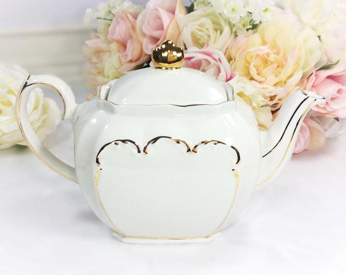 Cubed Sadler English Teapot, Cubed Windsor Teapot, White and Gold Filigree Teapot 4 Tea Time, Baby Shower, Wedding, English Teapot #A236,410