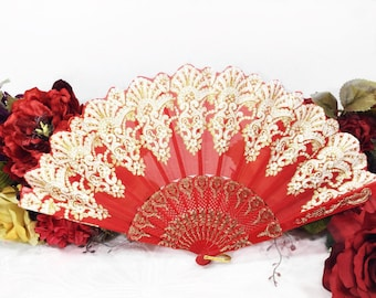 Deep Red Gold Spanish Floral Folding Fan For Weddings, Dress up, Bridal Showers, Gift, Tea Party, Tea Time, Church #A146