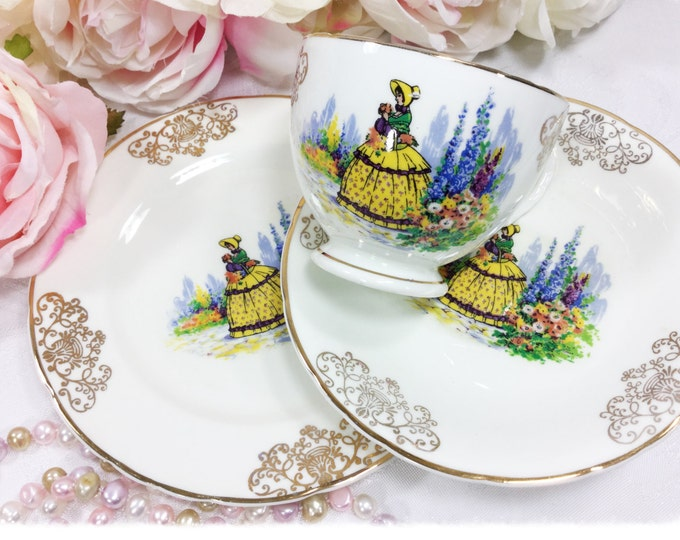 Crinoline Lady Gold Filigree 3 Pc. Tea Set Trio, Teacup Saucer Dessert Plate, Bone China Tea Set, Crinoline Lady, Tea Party #A217