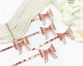 5 Pc. Rose Gold Little Bow Hair Clips, Bobby Pins, Barrette, Vintage Accessories For Weddings, Dress up, Bridal Shower, Tea time #B324