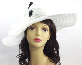 Lovely White Tea Party Hat, Summer Hat, Dress Up Hat, Headpiece For Weddings, Dress up, Bridal Showers, Tea time #A117