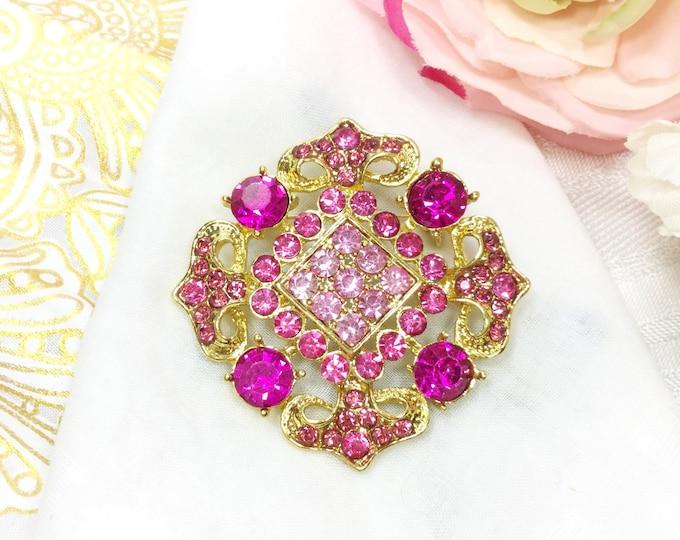 Pink Rhinestone Brooch, Pink Brooch Pin For Mothers Day, Pink Napkin Pin, Bridesmaid Gift, Wedding, Birthday Gift # B435
