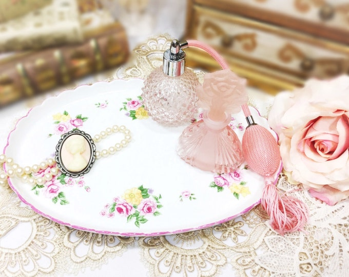Antique Handpainted Rose Floral Ceramic Vanity Tray, Platter, Pink Rose Floral Serving Tray For Tea Party, Vanity Tray, Boudoir, Prop #877