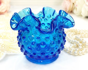 Signed Fenton Mid Century Blue Hobnail Crimped Edged Compote, Jewlery Holder, Candy Dish, Nut Dish, Beach Decor, Housewarming Gift  #A631
