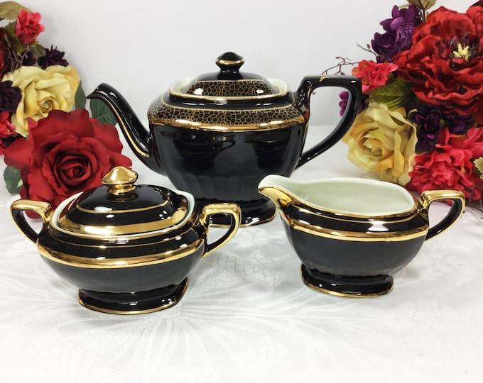 Elegant Vintage Black and Gold Hall Teapot Creamer & Covered Sugar Bowl for Tea Time Tea Party, Baby Shower, Wedding, Gift