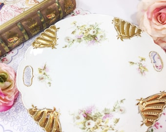 Gold Gilt Vintage Floral Sprays Scalloped Platter With Handles, Perfect for Tea Party Wedding Shower Tea Time #830