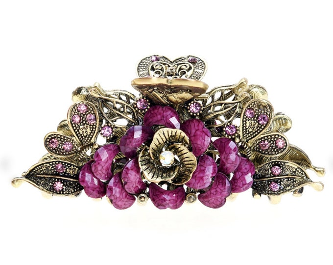 Purple Amethyst Antique Gold Colored Hair Clip Rhinestones for Wedding, Evening Wear, Party, Prom, Bridesmaid Gift #A359