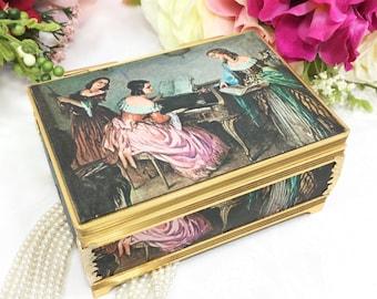 Schmid Satin Portrait Music Box, Portrait Jewelry Box, Schmid Music Jewelry Box, Schmid Bros. #A407