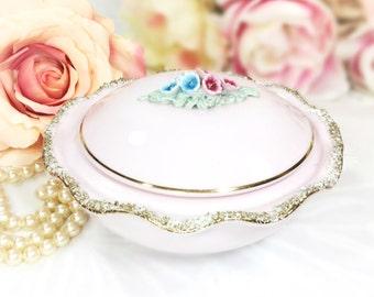 Pink Gold Encrusted Floral Trinket Jar, Vanity Jar, Pink Powder Jar, Snuff Box, Ring Holder, Valentines Gift, Boudoir #A619