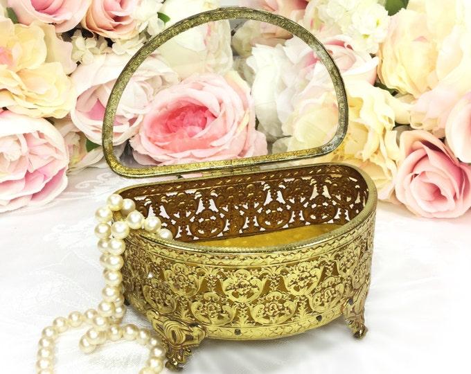 Vintage Matson Ormolu Filigree 24 KT. Gold Plated Vanity Box, Beveled Glass Top Jewlery Box, Gold Trinket Box #A202