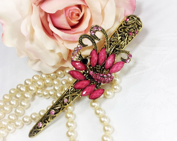 Large Pink & Antique Gold Colored Hair Clip Rhinestones for Wedding, Evening Wear, Party, Prom, Bridesmaid Gift #A40