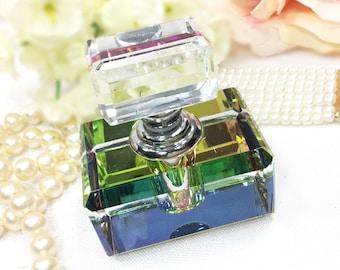 Chic Retro Multi Colored Glass Perfume Bottle, Vintage Perfume Bottle for Vanity Decor or Boudoir Decor  #A592