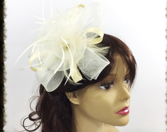 Beige Ivory Fascinator Hair Clip Pillbox Tea Hat Sinamay Hair Comb Headpiece For Weddings, Dress up, Bridal Showers, Tea time #A85