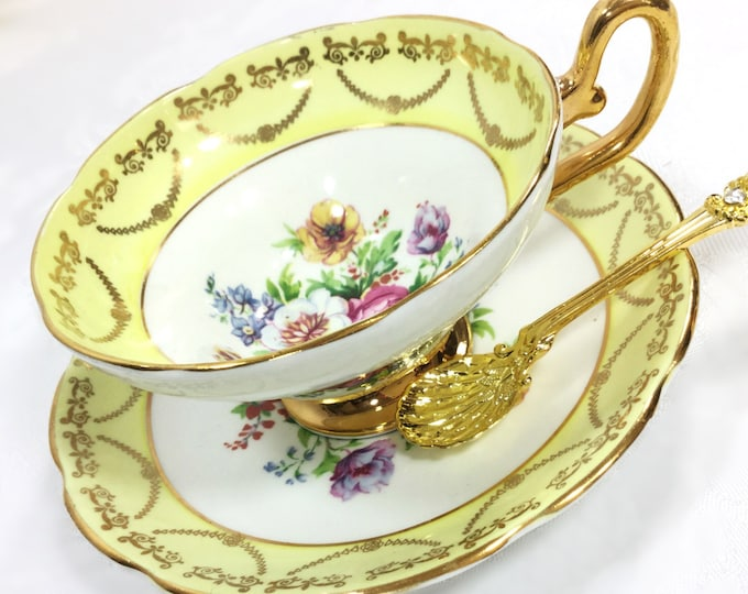 Regency Yellow Tea Cup & Saucer, English Fine Bone China Tea Set, for Wedding, Shower, Tea Time, Bridal, Tea Party, Gift #A242