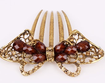 Austrian Crystal Brown & Gold Colored Hair Comb Pin, Hair Jewelry, Bridesmaid, Gift #A357