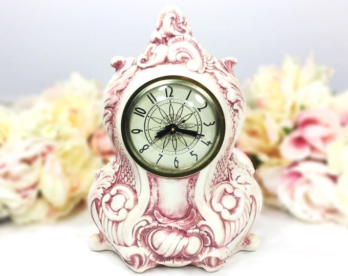 Vintage Lanshire Movement Porcelain Mantle Clock, Mauve Electric Mantle Clock, Holland Mold, Vintage Wedding Gift #A599