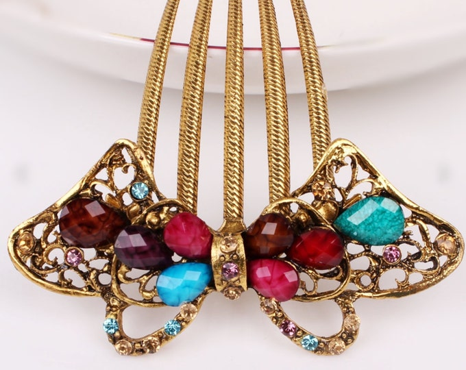 Beautiful Austrian Crystal Multi Colored Gold Colored Hair Comb Pin, Hair Jewelry, Bridesmaid, Gift #A324