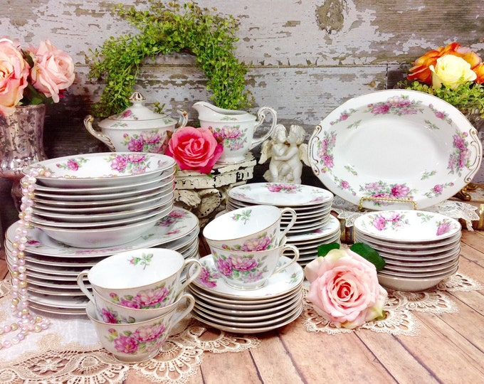 Jyoto OCCUPIED IN JAPAN Exceptional 53 Piece Vintage Pink Flowers Dinnerware Set For Wedding Gift Baby Bridal Shower Party Tea #143