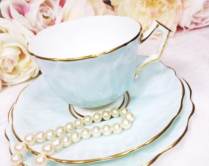 Aynsley English Tea Trio, Powder Blue Bone China English Tea Cup, Saucer, Plate For Tea Time, Tea Party, Wedding. England #A129
