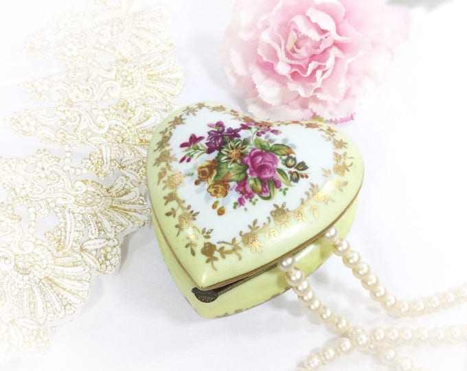 Vintage Yellow Heart Shaped Floral Trinket Box, Yellow Floral Ring Holder Gift, Boudoir Decor #A789