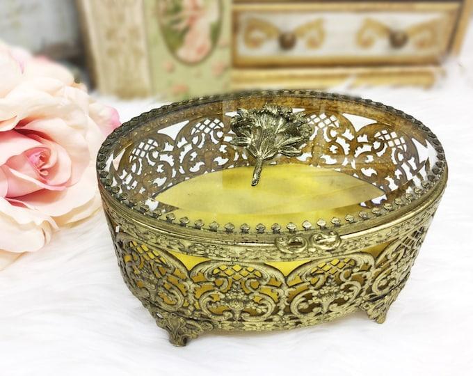 Matson Ormolu 24 KT. Gold Plated Floral Filigree Vanity Box, Beveled Glass Top Jewlery Box, Gold Trinket Box, Gold Dresser Box #927