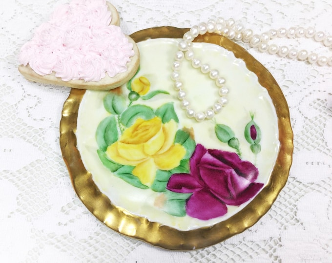 Vintage Handpainted Pink and Yellow Roses With Thick Gilt Border on Porcelain Trivet Hot Plate Plate Holder Tea Tile Tea Time, Party #715