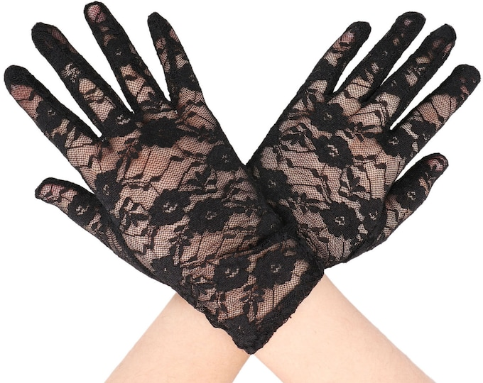 Stunning BLACK Lace Ladies Wrist Length Gloves Perfect for Wedding, Tea Party, Showers, Gift