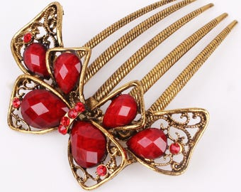 Beautiful Red Crystal & Gold Hair Comb, Decorative Hair Pin, Red Hair Jewelry, Bridesmaid Gift, Valentines Day #A362