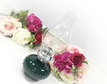 Lamp Light Farms Vintage Hunter Green Glass Oil Lamp W/ Glass Bubble Beads Shabby Chic Cottage Style, Victorian Style, Wedding Gift #727