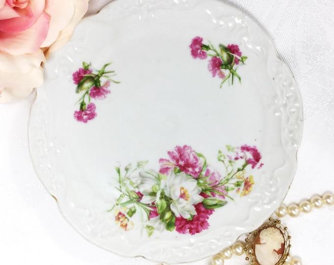 Vintage Pink Florals, White Porcelain Trivet, Hot Plate, Plate Holder, Tea Tile for Weddings, Tea Time, Party #A51
